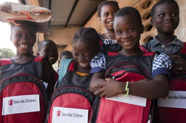 School children in western Côte d'Ivoire receive education kits including a backpack, pencils, notebooks and a portable chalkboard to help them make the most of school. Rodrigo Ordonez/Save the Children